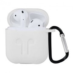 Чохол Silicone Case New for AirPods 1/2 transparent + карабін