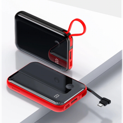 Power Bank Baseus Mini S Digital Display 3A 10000 mAh Type-C cable red