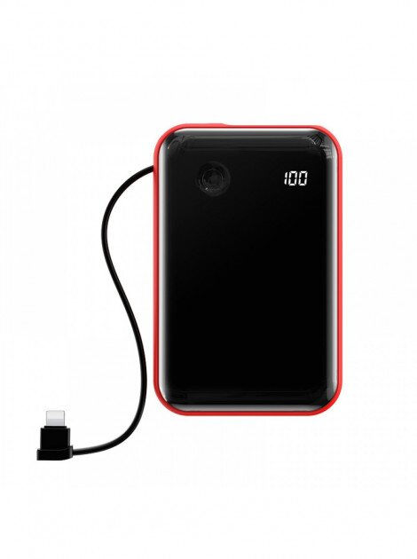 Power Bank Baseus Mini S Digital Display 3A 10000 mAh Lightning-C cable red